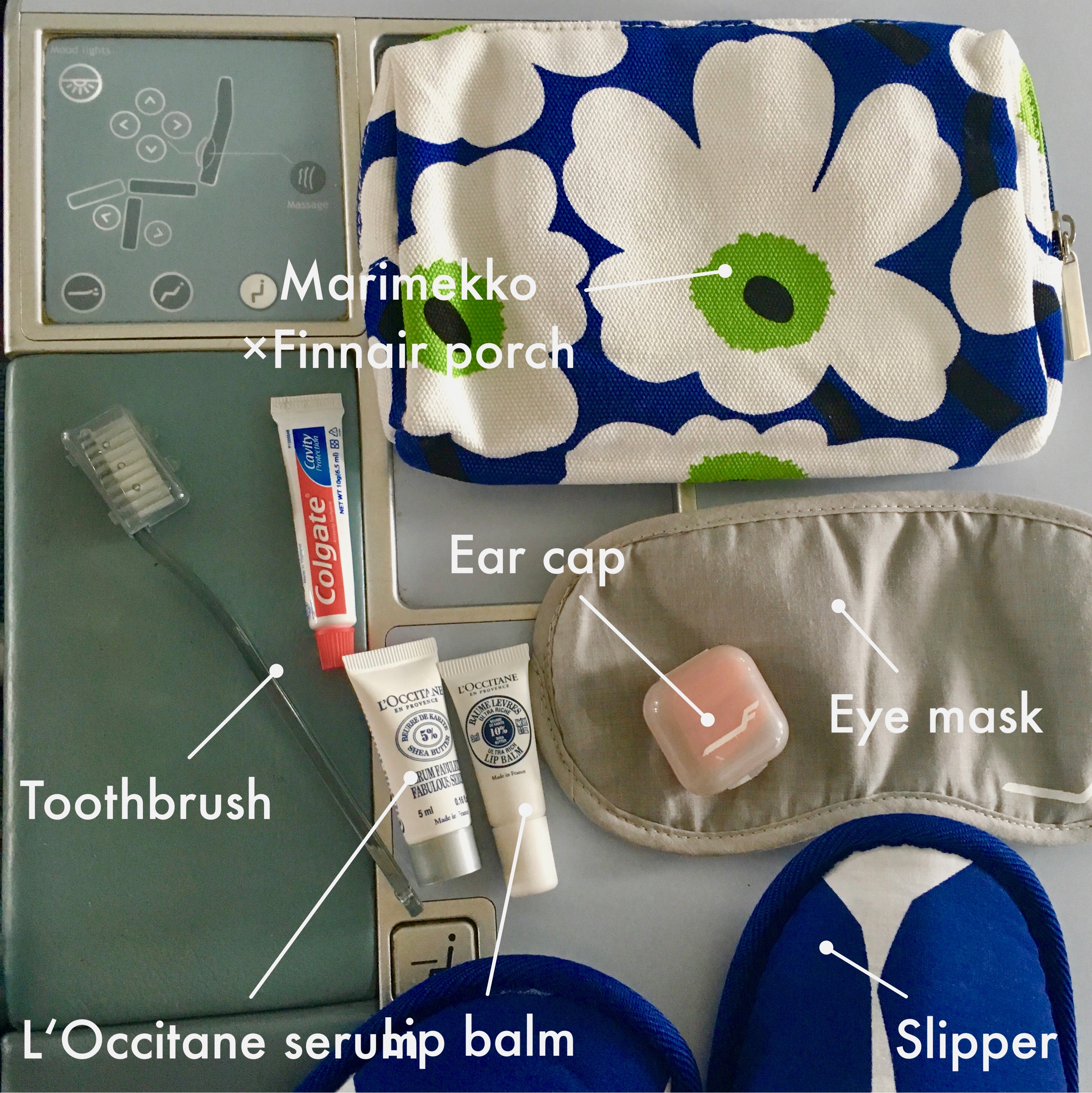 Marimekko ×Finnair porch | Toothbrush | L'Occitane serum | Lip balm | Ear cap | Eye mask | Slipper |